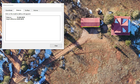 Distance calculation from aerial map by southwests scanning for construction and architecture, New Mexico